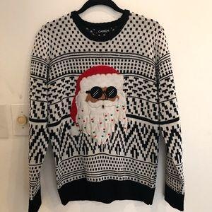 Xmas sweater, Santa wearing sun shades size Medium